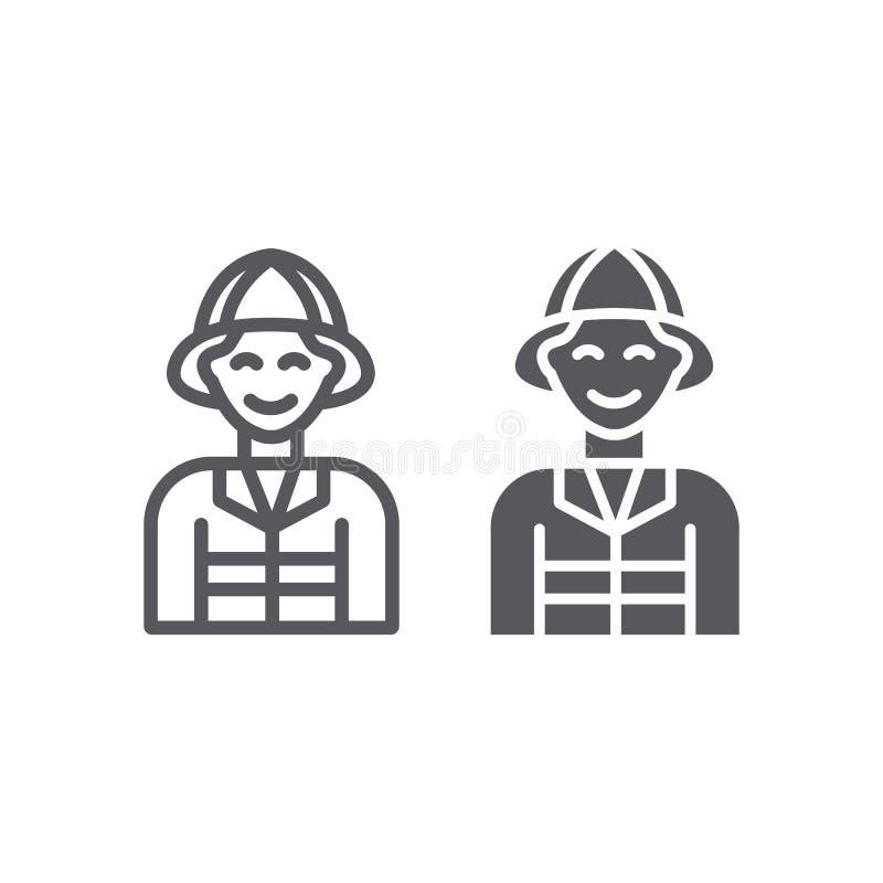消防队员线和纵的沟纹象、火和人,消防员标志,向量图形,在白色背景的一个线性样式 库存例证