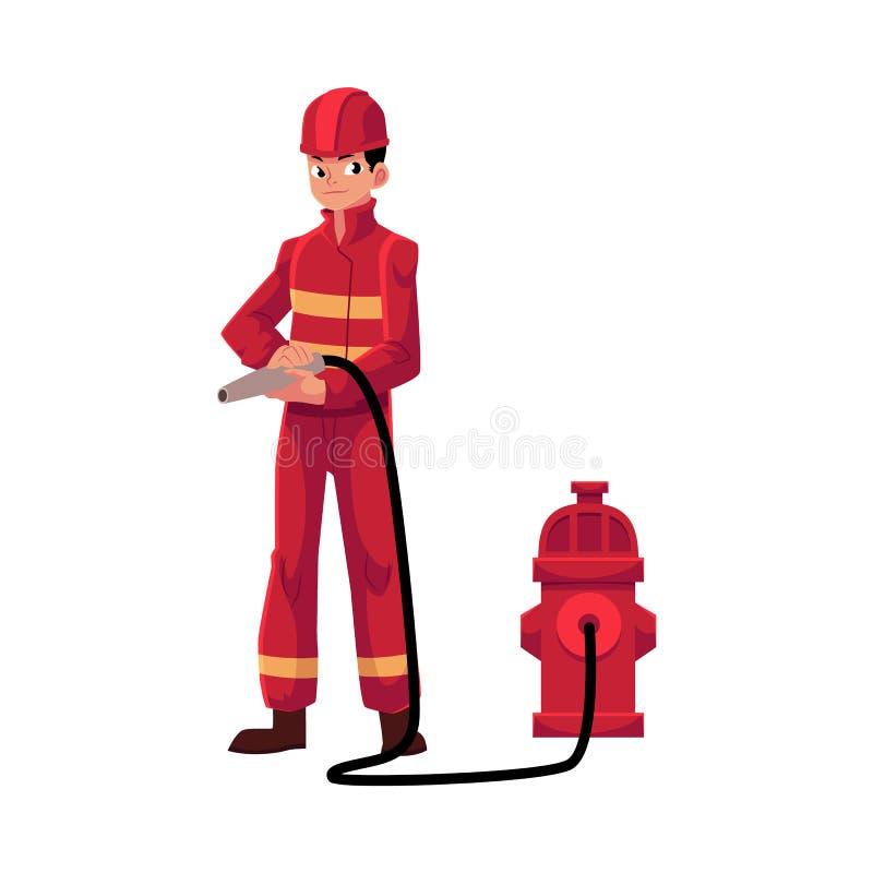 消防队员,红色防护套服不采取行动水管的,消防栓消防员 向量例证