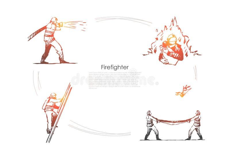 消防队员-熄灭火的人消防队员,爬上梯子,保存的人民和捉住从传染媒介概念集合上 库存例证