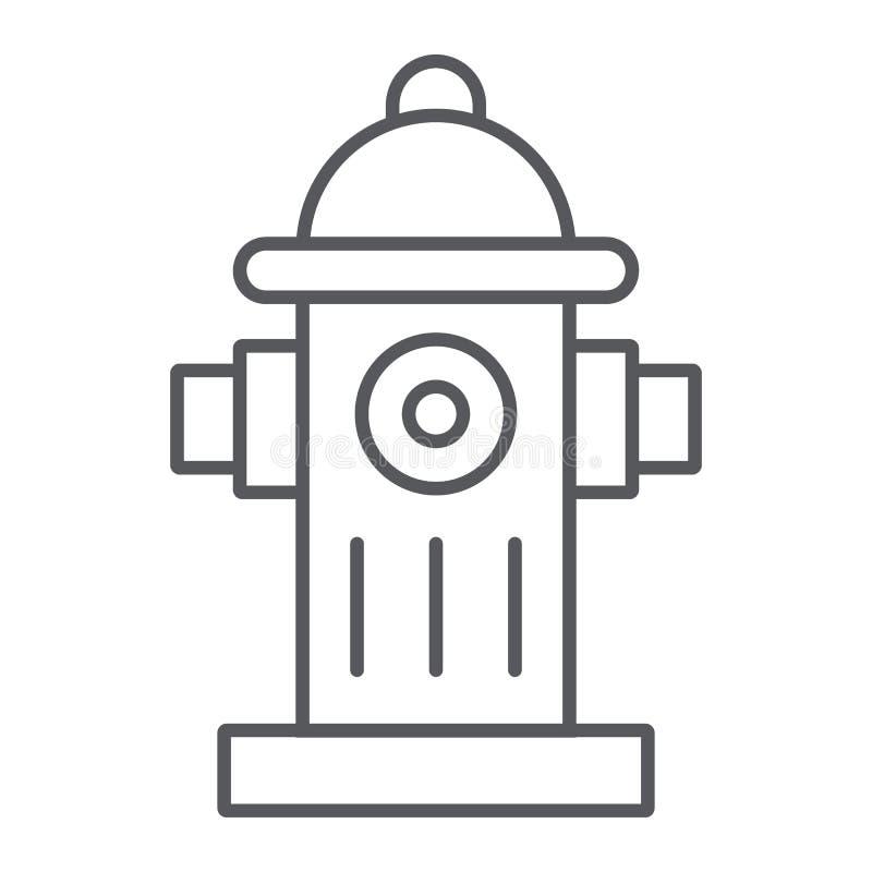 消防龙头稀薄的线象、设备和保护,熄灭标志,向量图形,在白色的一个线性样式 皇族释放例证
