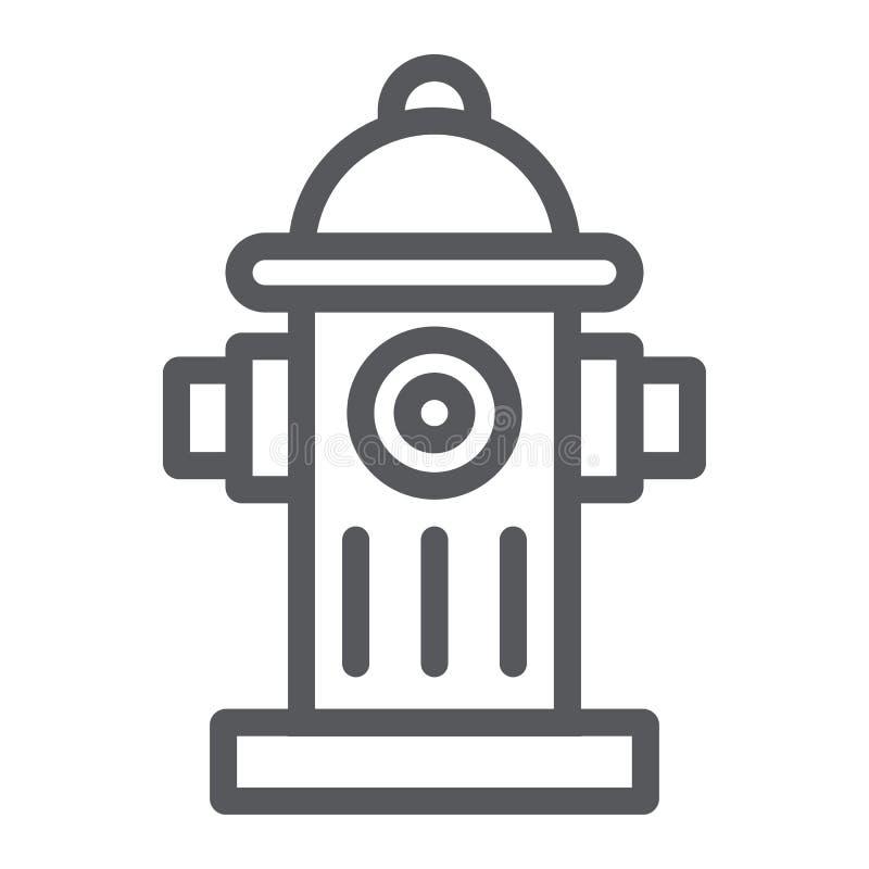 消防龙头线象、设备和保护,熄灭标志,向量图形,在白色的一个线性样式 皇族释放例证
