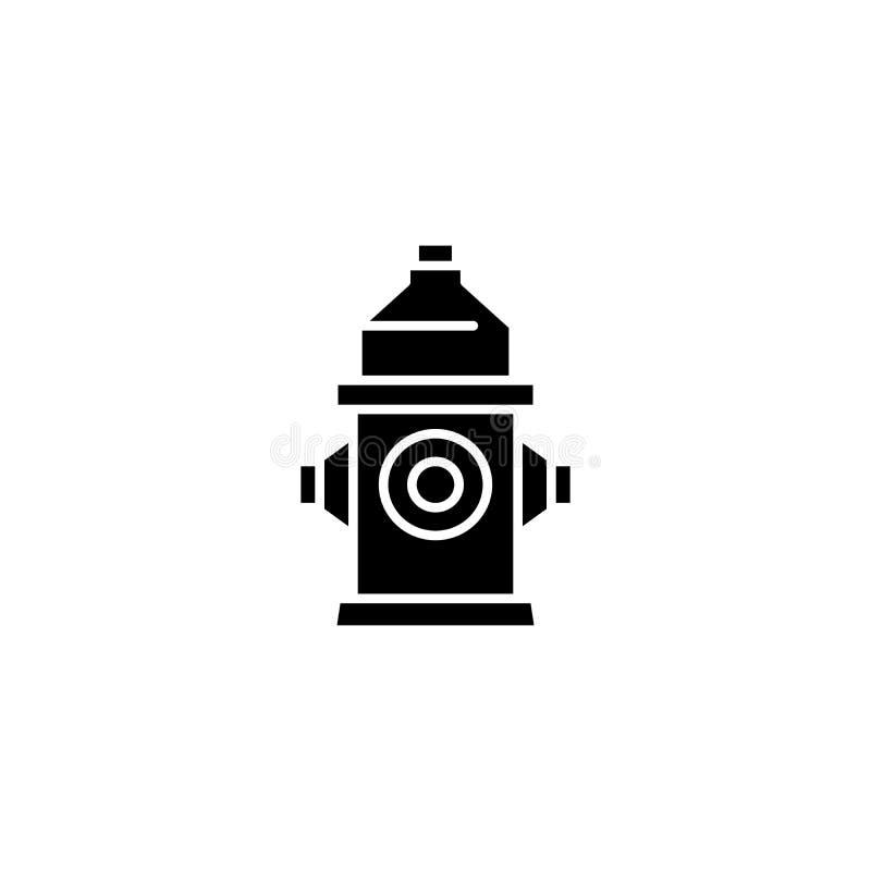 消防龙头黑色象概念 消防龙头平的传染媒介标志,标志,例证 皇族释放例证