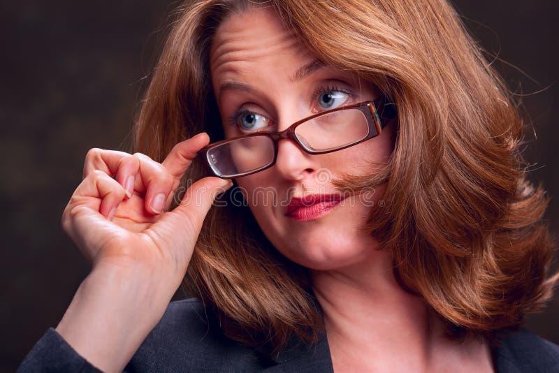 涉及妇女的企业玻璃 免版税图库摄影