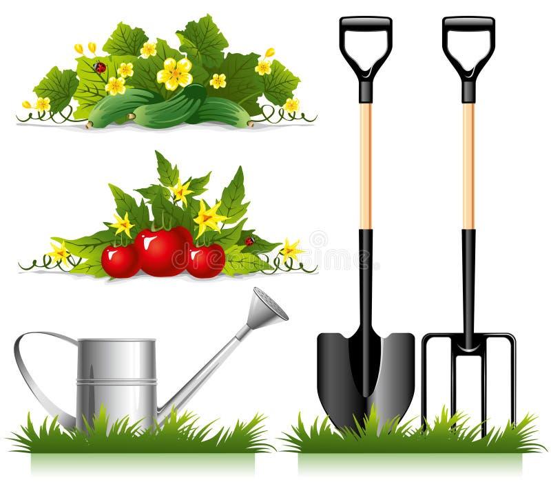 涉及的从事园艺的项目 向量例证