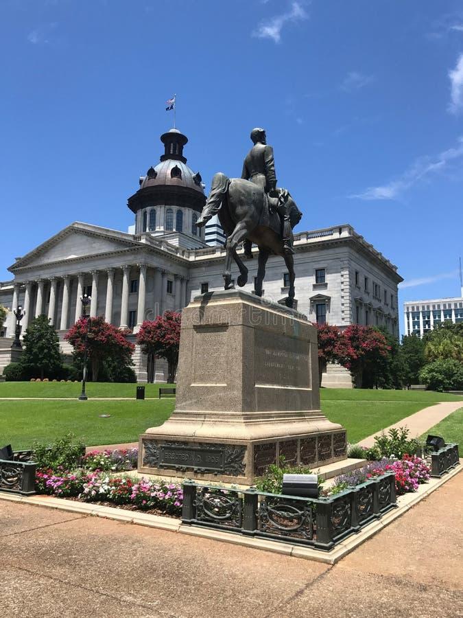 涉过在SC状态议院地面的汉普顿III纪念碑 免版税图库摄影