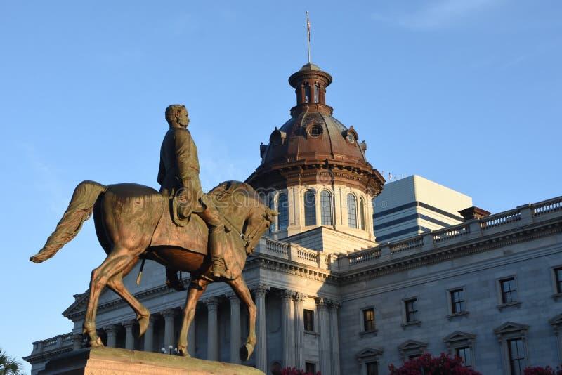 涉过在SC状态议院地面的汉普顿III纪念碑 免版税库存图片