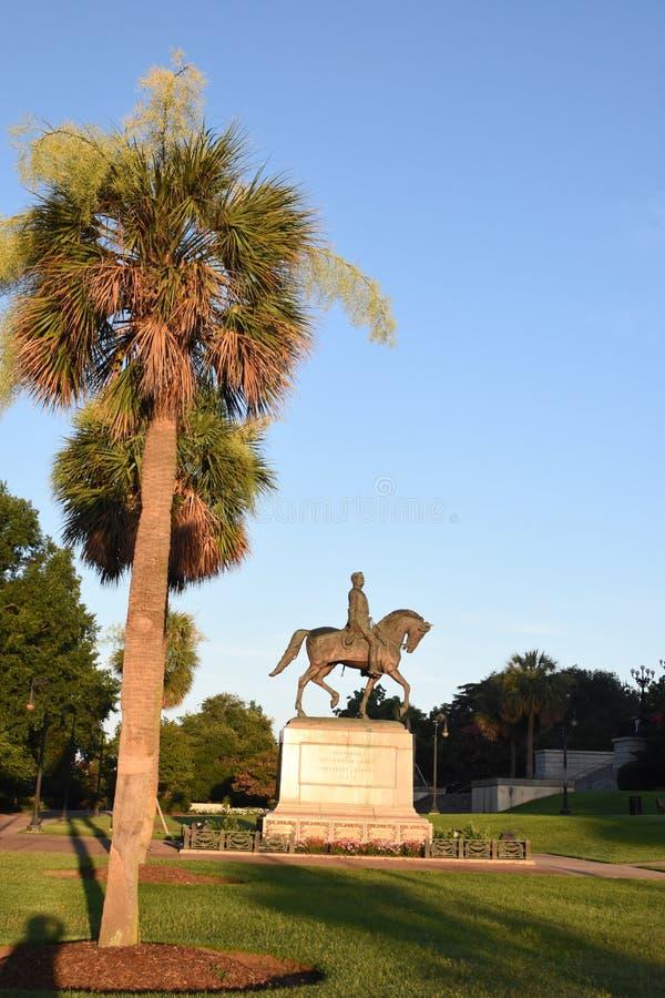 涉过在SC状态议院地面的汉普顿III纪念碑 库存照片