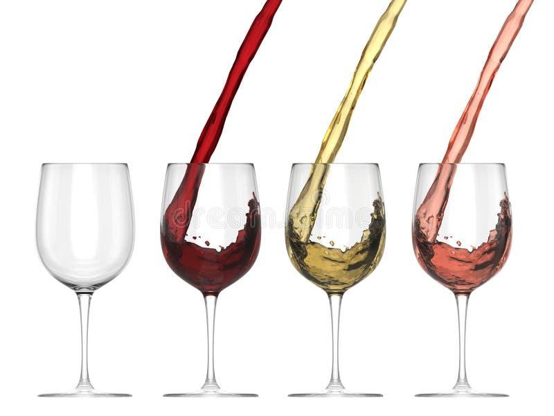 涌入玻璃-集合的酒 向量例证