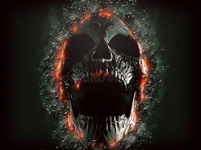 涌现从岩石墙壁的黑暗的叫喊的头骨 向量例证