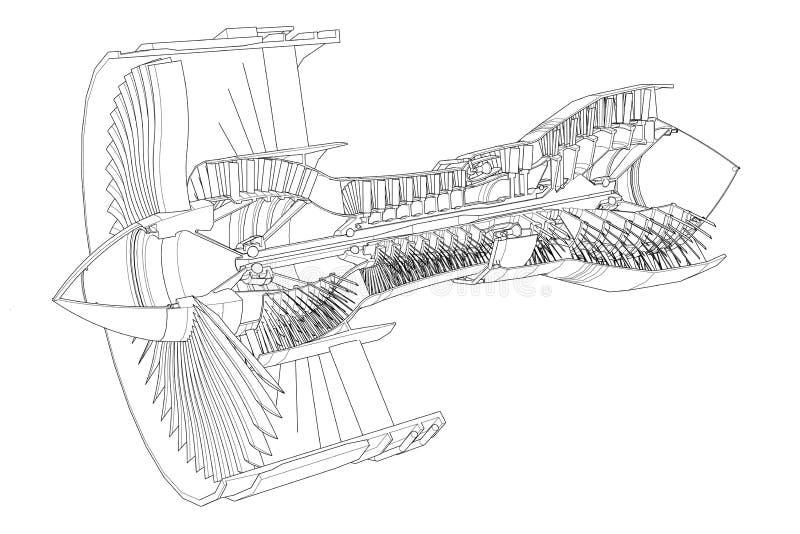 涡轮喷气机引擎航空器 背景例证线路雪镶边向量 库存例证