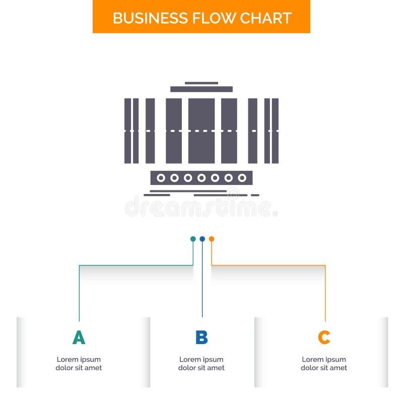 涡轮,垂直,轴,风,技术企业与3步的流程图设计 r 皇族释放例证
