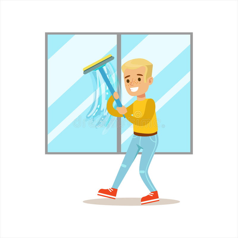 洗涤与橡皮刮板微笑的动画片孩子字符的男孩Windows帮助与家务和做议院清洁 皇族释放例证