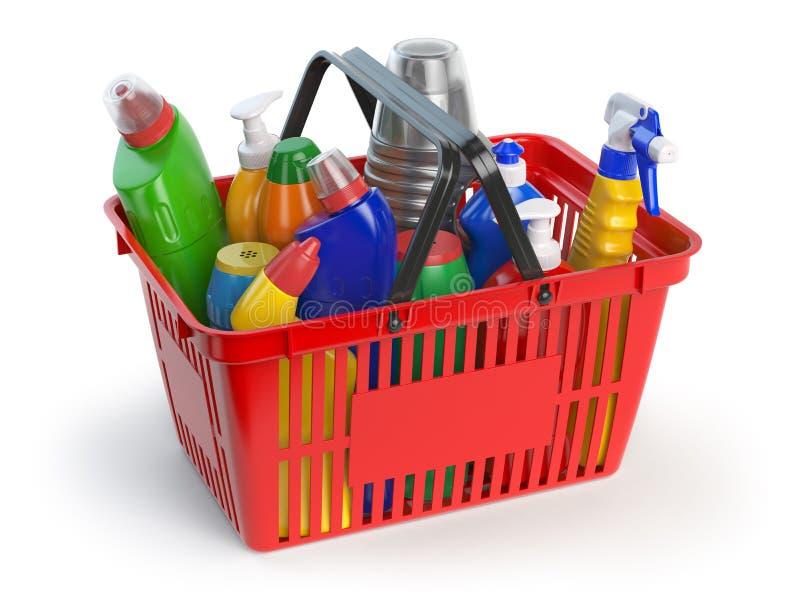 洗涤剂瓶和清洁物品在手提篮isol 库存例证