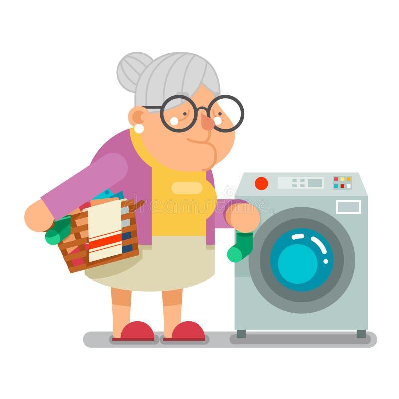 洗涤在洗衣机家庭老婆婆老妇人字符动画片平的设计传染媒介例证的肮脏的洗衣店 向量例证