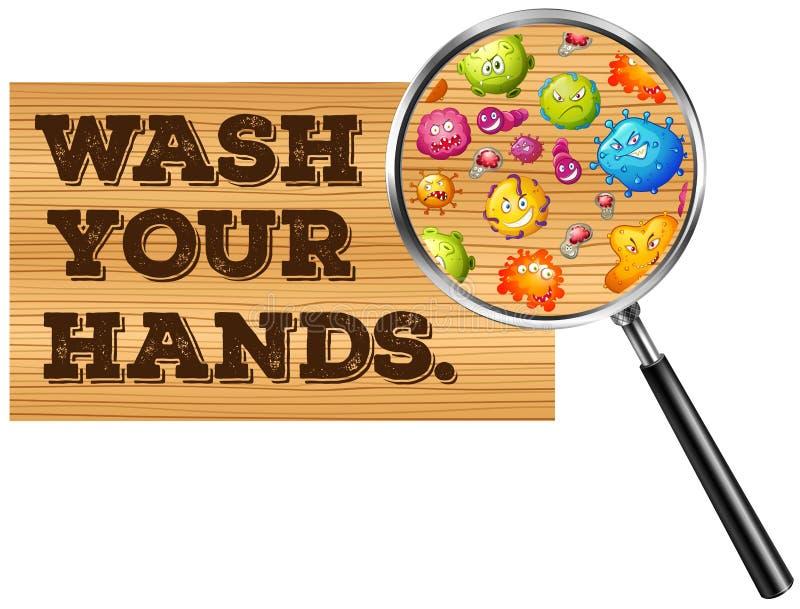 Download 洗涤您的手标志 向量例证. 插画 包括有 病毒, 钞票, 现有量, 例证, 会议室, 洗涤物, 字词, 夹子 - 59108184