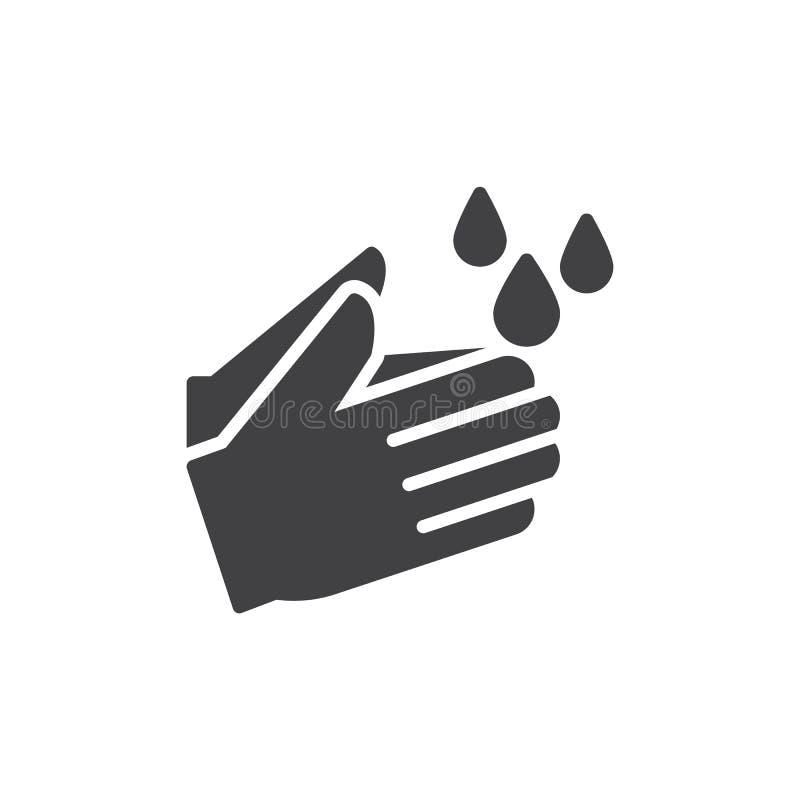 洗涤手象传染媒介,被填装的平的标志,在白色隔绝的坚实图表 向量例证