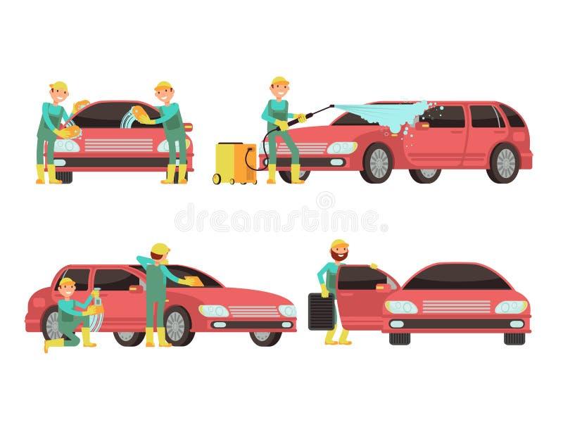 洗涤的汽车为传染媒介概念服务与汽车和擦净剂 向量例证