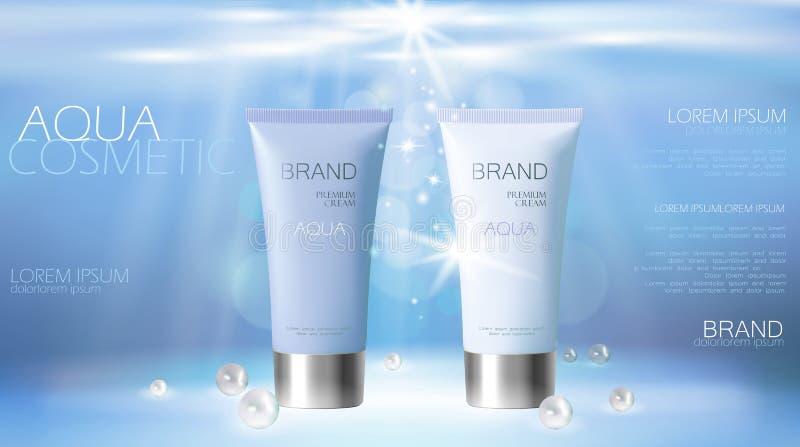 润湿的作用化妆管广告模板 水色水飞溅下落3d详述了现实传染媒介例证 向量例证