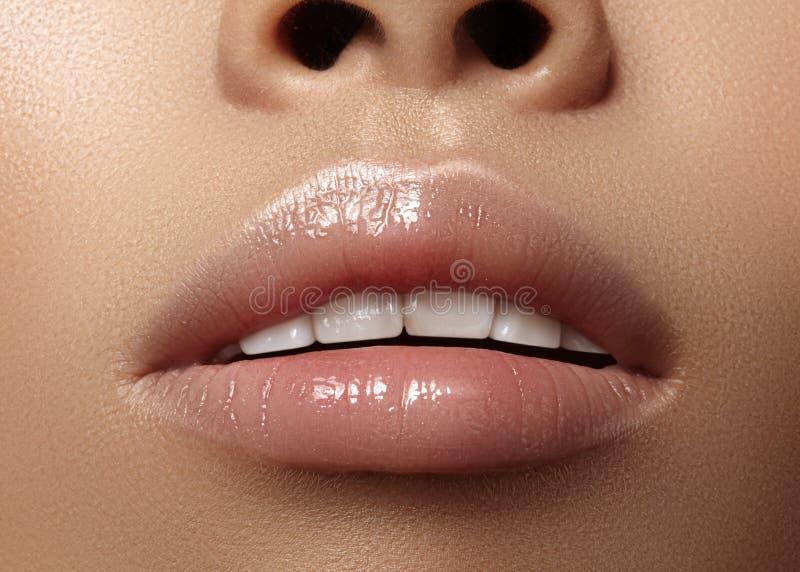 润湿的唇膏,唇膏 特写镜头美丽的性感的湿嘴唇 有光泽嘴唇构成的充分的嘴唇 补白射入 免版税库存图片