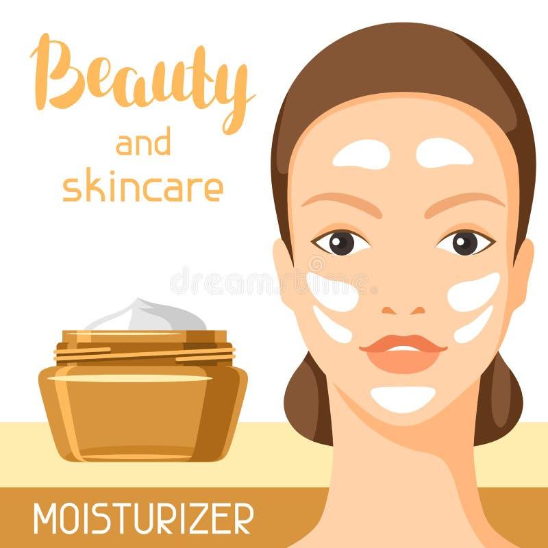 润湿的奶油色秀丽和护肤 编目或广告的背景 向量例证