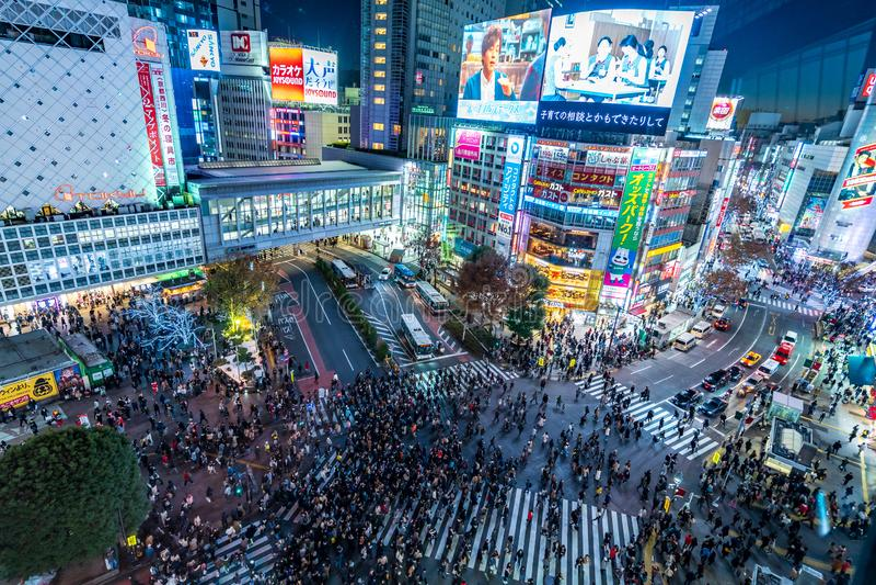 涩谷,东京,日本- 2018年12月24日:人群走发怒斑马行人穿越道的人步行者顶视图在涩谷区 免版税图库摄影