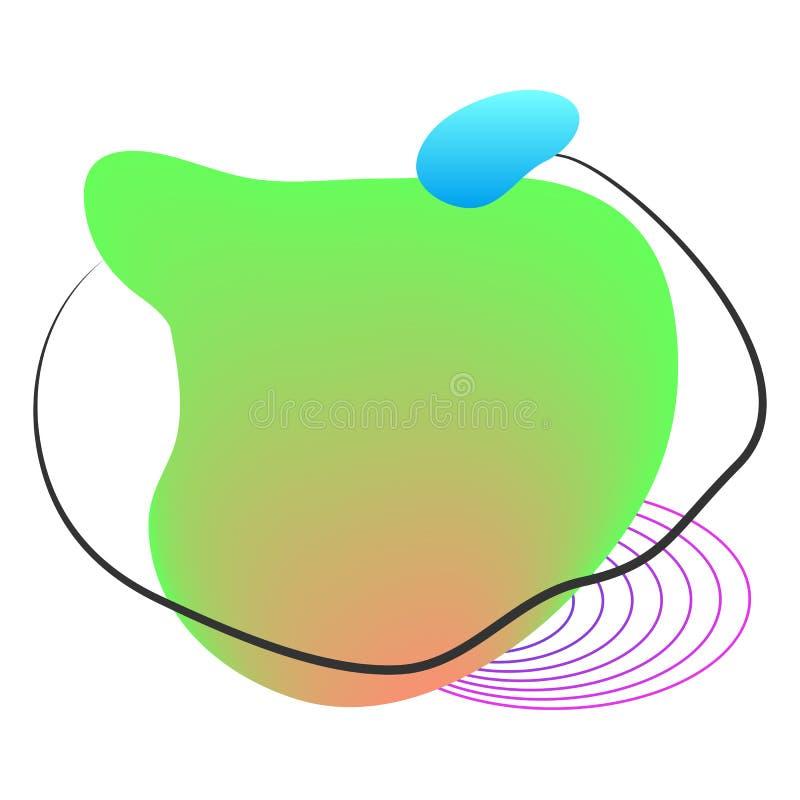 液体元素、混杂的颜色塑料形状或者各种各样的有机泡影现代设计的 抽象可变的梯度,飞溅或 库存例证