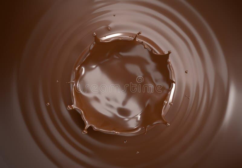液体巧克力冠飞溅 顶视图 免版税库存照片