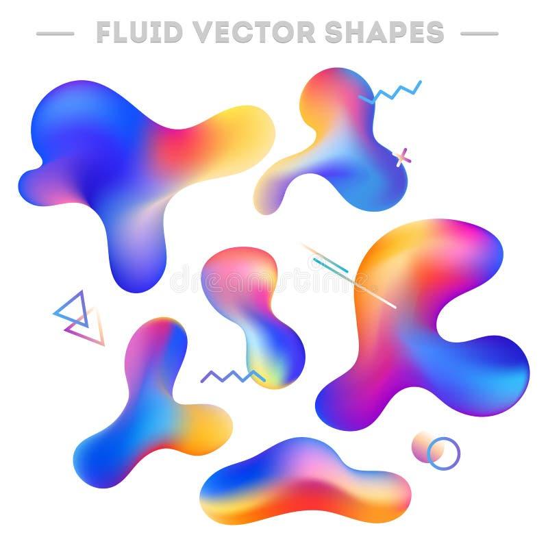 液体抽象形状和几何元素 抽象五颜六色 皇族释放例证