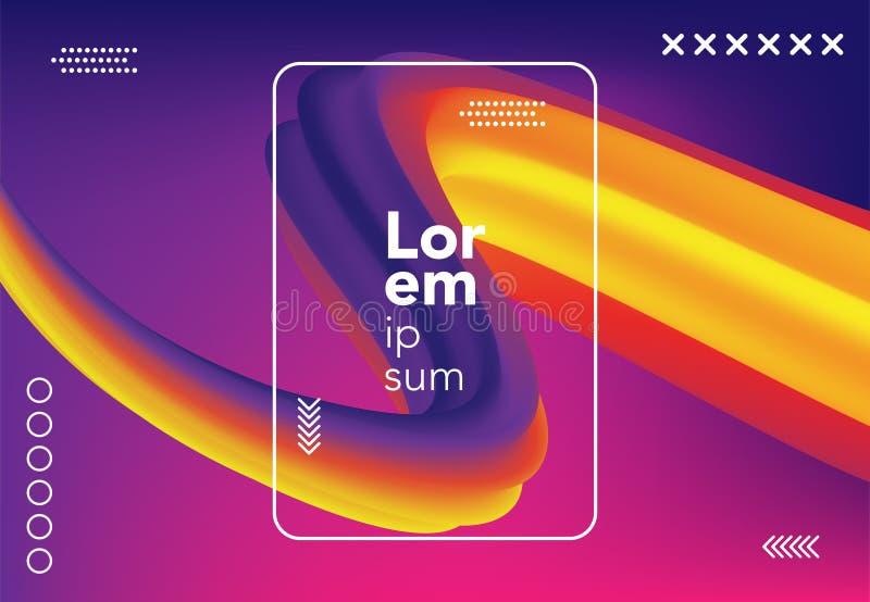 液体波浪背景 五颜六色的3d流动形状 横幅的,海报,盖子抽象可变的梯度构成 也corel凹道例证向量 库存例证