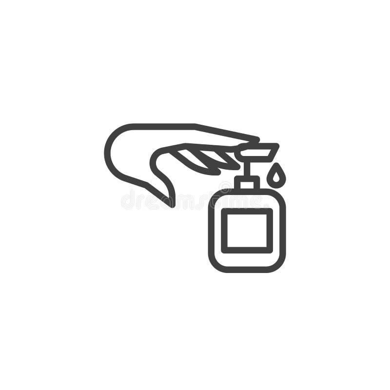 液体皂瓶和手钓丝象 皇族释放例证