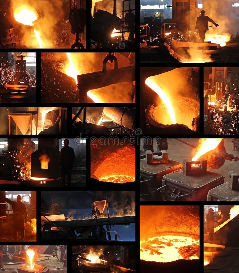 液体金属在铸造厂-拼贴画 图库摄影