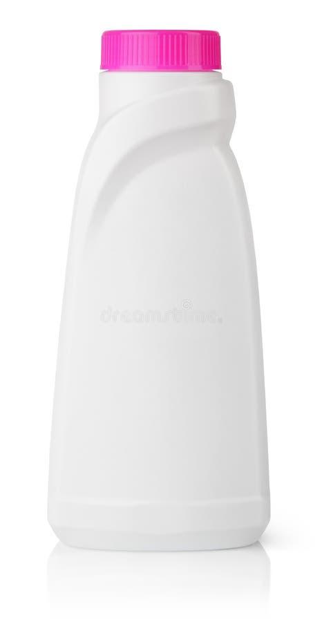 液体洗涤剂的白色塑料瓶 图库摄影