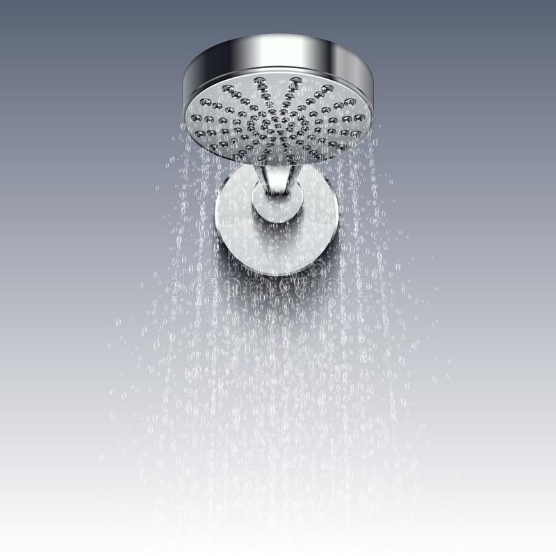 淋浴金属头与水在白色背景隔绝的传染媒介例证细流  皇族释放例证