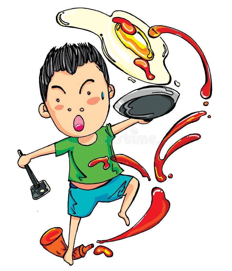 淘气厨师做煎蛋 库存照片
