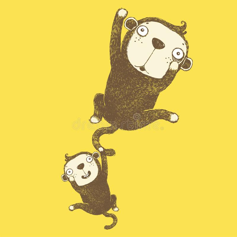 淘气猴子、二重奏猴子、滑稽的猴子、传染媒介动画片逗人喜爱的滑稽的猴子、动画片和传染媒介被隔绝的字符 美好的vect 皇族释放例证
