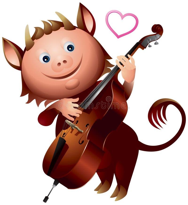 淘气鬼低音提琴爱心脏 向量例证