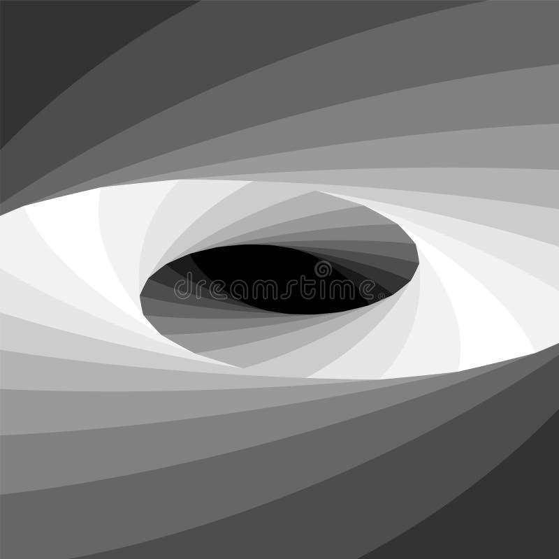 淡光从黑暗点燃口气和扩展从中心的单色省略螺旋 深度错觉  库存例证