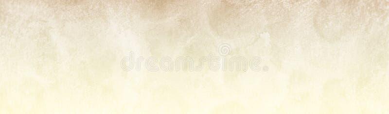 淡淡的淡色全景设计中的棕色或黄色复古背景,以水彩纸和油漆质感 免版税库存图片