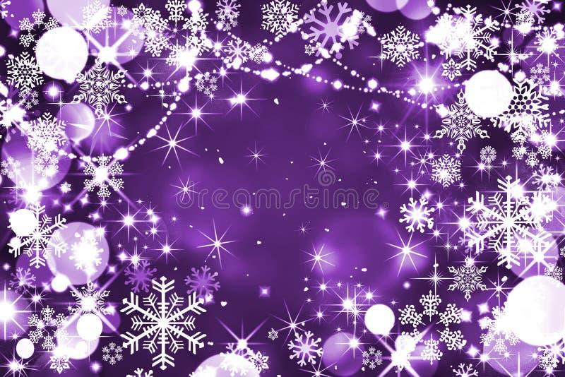 淡紫色冬天背景,圣诞节,新年,魔术,夜,丝毫 向量例证