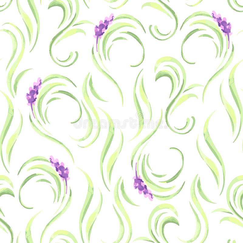 淡紫色开花无缝的样式 普罗旺斯草本的水彩自然例证 向量例证