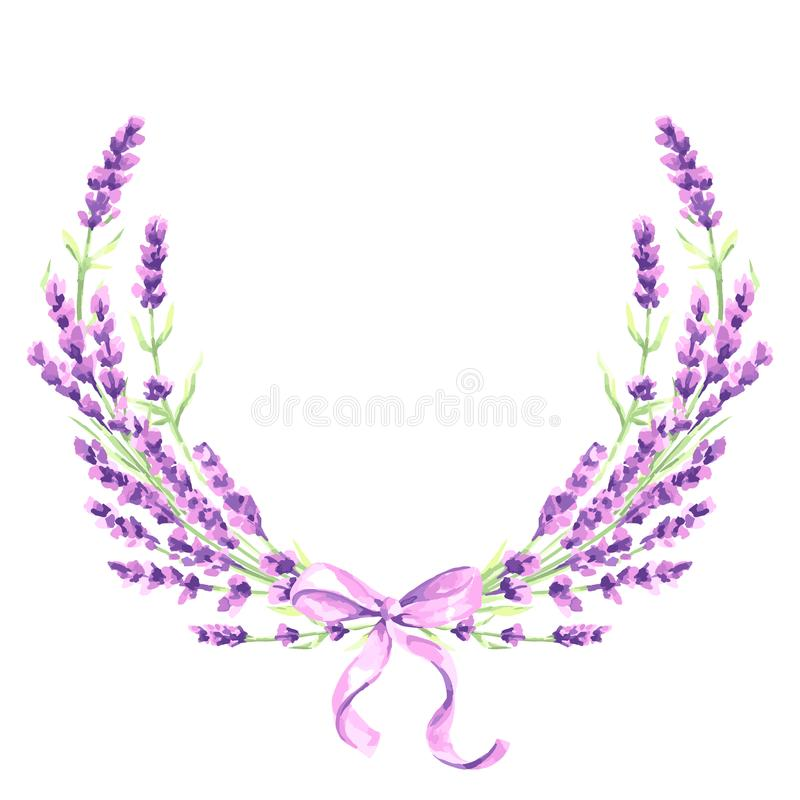 淡紫色开花装饰元素 库存例证