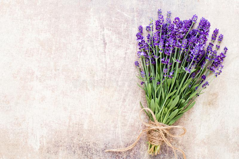 淡紫色开花,在土气背景的花束,在头顶上 免版税图库摄影