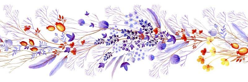 淡紫色水彩自然边界 婚姻的设计的,艺术创作自然cliparts 向量例证