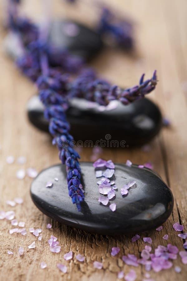 淡紫色温泉石头 免版税库存照片
