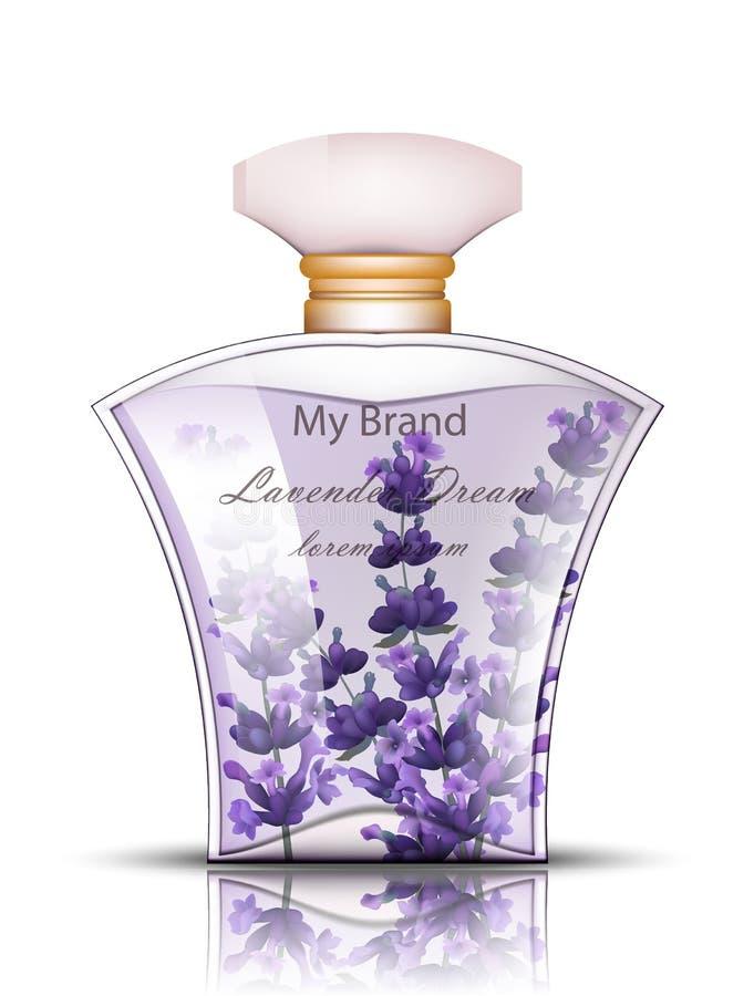 淡紫色现实香水的传染媒介 产品包装的嘲笑上升 皇族释放例证