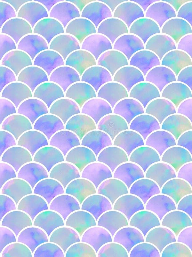 淡紫色美人鱼` s称无缝的样式 免版税库存图片