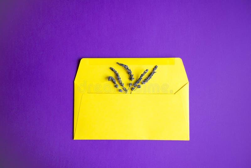 淡紫色花的构成和纸黄色信封在紫色背景的 库存图片