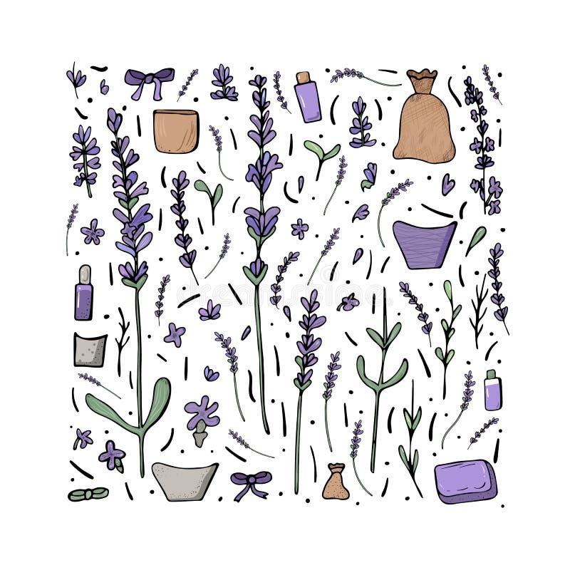 淡紫色花设置了在乱画样式的构成 向量例证