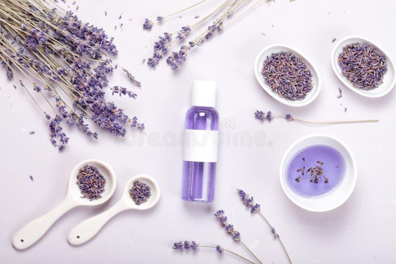 淡紫色身体关心产品 芳香疗法和自然医疗保健概念 库存照片