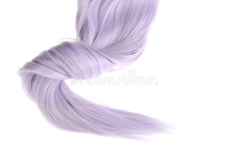 淡紫色颜色头发片断有转弯的 免版税库存图片